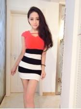 Striped Patchwork Bodycon Mini Dresses