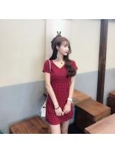 Vintage V Neck Plaid Short Dresses