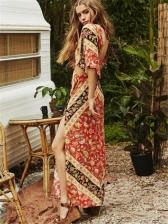 Retro Backless Printing Slit Maxi Dresses