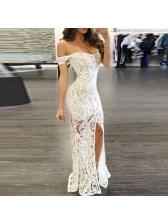 Sexy Off Shoulder Printed Split Hem Evening Dress