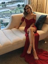 Sexy Off Shoulder Split Hem Evening Red Dress