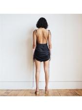 Sexy V Neck Heap Pleated Hem Straps Dress