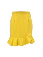Easy Matching Flounced Hem Asymmetrical Skirt