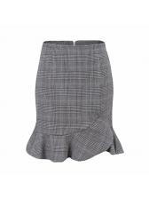 Korean Flounced Hem Asymmetrical Plaid Skirt
