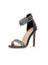 Euro Faux Diamond Thin Heel Pumps