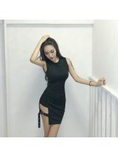 Sexy Crew Neck Hollow Out Bodycon Dress
