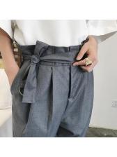 Retro Solid Color High Waist Long Pants