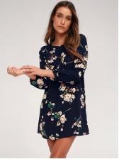 Hot Sale Crew Neck Long Sleeve Floral Dress