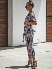 Fashion Printing Short Sleeve Jumpsuits