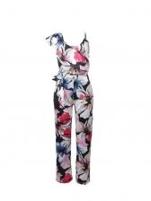 Colorful Floral One Shoulder Jumpsuits