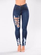 Euro Fashion Holes Blue Jeans
