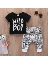 Chic Letter Short Sleeve Hot Sale Boys Suits