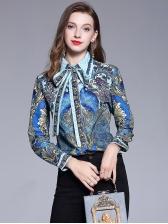 Euro Formal Printed Ladies Blouse