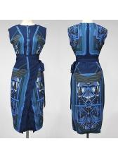 OL Vintage Printed Bandage Fitted Dress