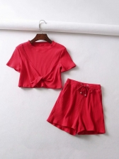 Summer Solid Ruffles Casual Two Pieces Outfits