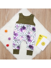 Sleeveless Printed Contrast Color Infant Romper