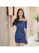 Off Shoulder Solid Color Denim Dresses