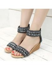 Roma Beading Zipper Cozy Wedges Sandals