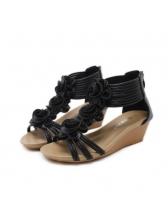 Roma Style Flower Zipper Wedges Sandals