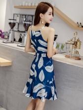 Beach Printing Strap Short Dresses