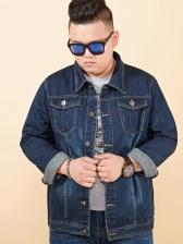 Plus Size Blue Denim Jacket For Men