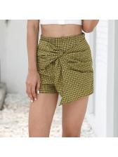 Euro Hot Sale Asymmetrical Plaid Hot Pants
