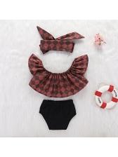 Fashion Plaid Ruffles Baby Suits