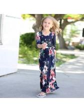 Euro Floral Long Sleeve Girls Dress