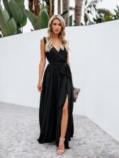 V-Neck Lace Up Sleeveless Slit Maxi Dresses
