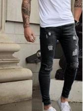 Easy Matching Holes Men Slim Denim Long Pants