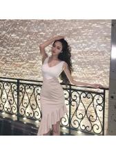 Chic Ruffles Contrast Color Irregular Dresses