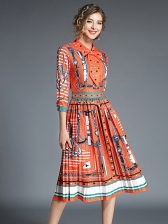 Euro Printing Pleated Stand Collar Dresses