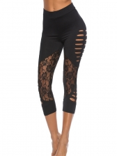 Sexy Lace Patchwork Hollow Out Yoga Bottoms