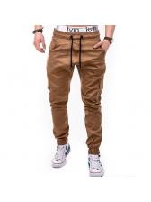 Drawstring Solid Pocket Design Casual Long Pants