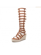 Roma Style Hollow Out Wedge Boots