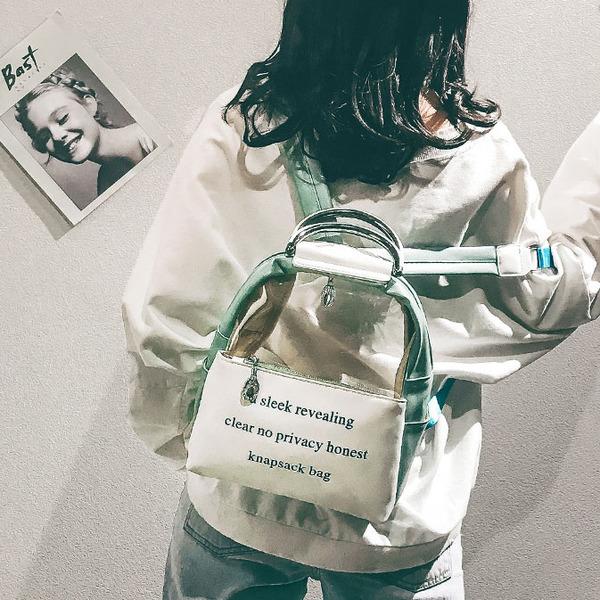 Korean College Letter Printed transparent Backpack