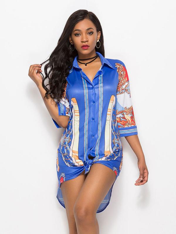 Hot Sale Plus Size Printed Women Blouse