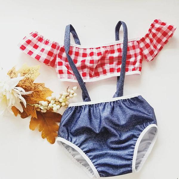 Plaid Off Shoulder Cute Girls Swimsuit