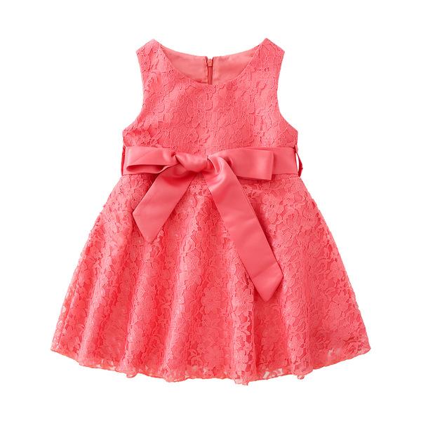 Fashion Sleeveless Tie Wrap Solid Girls Dress