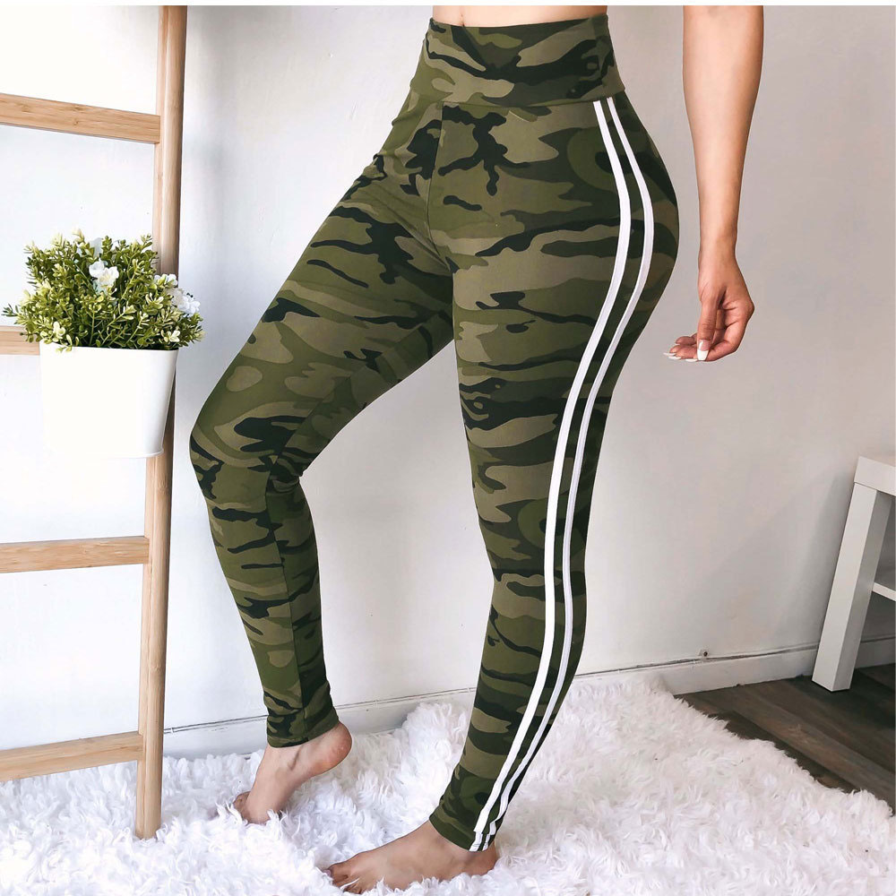 Sporty Striped Camouflage Long Pants
