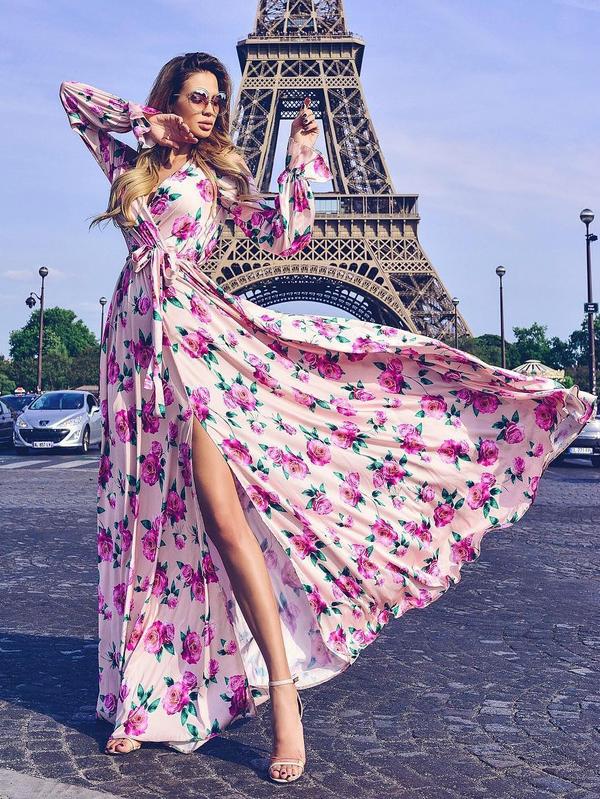 Hot Selling Floral Slit Tie-wrap Maxi Dresses