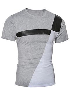 Cheap Korean Color Block Casual T-Shirts