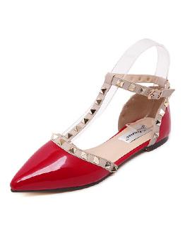 Elegant Fashion Rivet Patchwork Pionted Flats