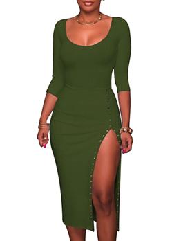 Split Front Scoop Neck Sexy Maxi Dress