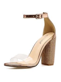 Sexy Rhinestone Chunky Heels Sandals
