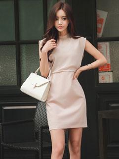 Korean OL Simple High Waist Chiffon Dress