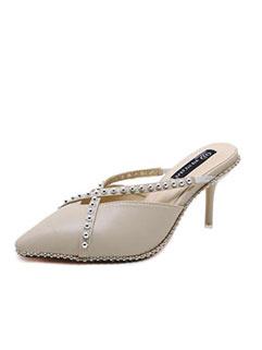 Pointed Rivet Thin Heel Female Slippers