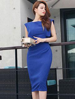 Korean Sexy Backless Slit Sleeveless Dresses