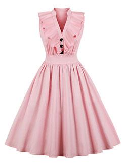 Vintage Elegant Flounce Blush Sleeveless Dresses
