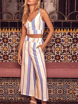 V Neck Cropped Striped Palazzo Woman Set